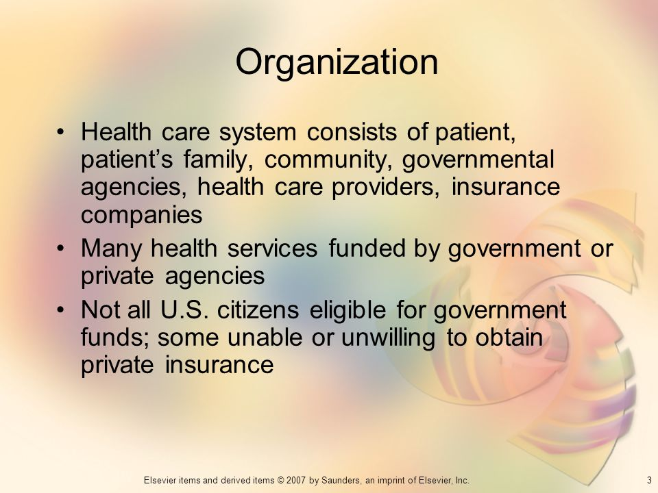 3Elsevier items and derived items © 2007 by Saunders, an imprint of Elsevier, Inc. Organization Health care system consists of patient, patients famil