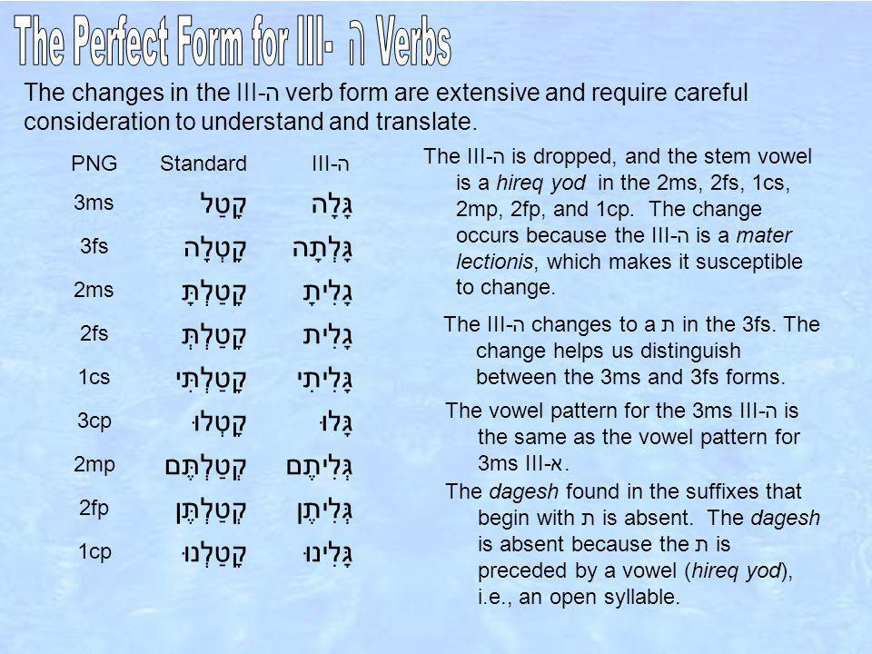 The changes in the III-ה verb form are extensive and require careful consideration to understand and translate.