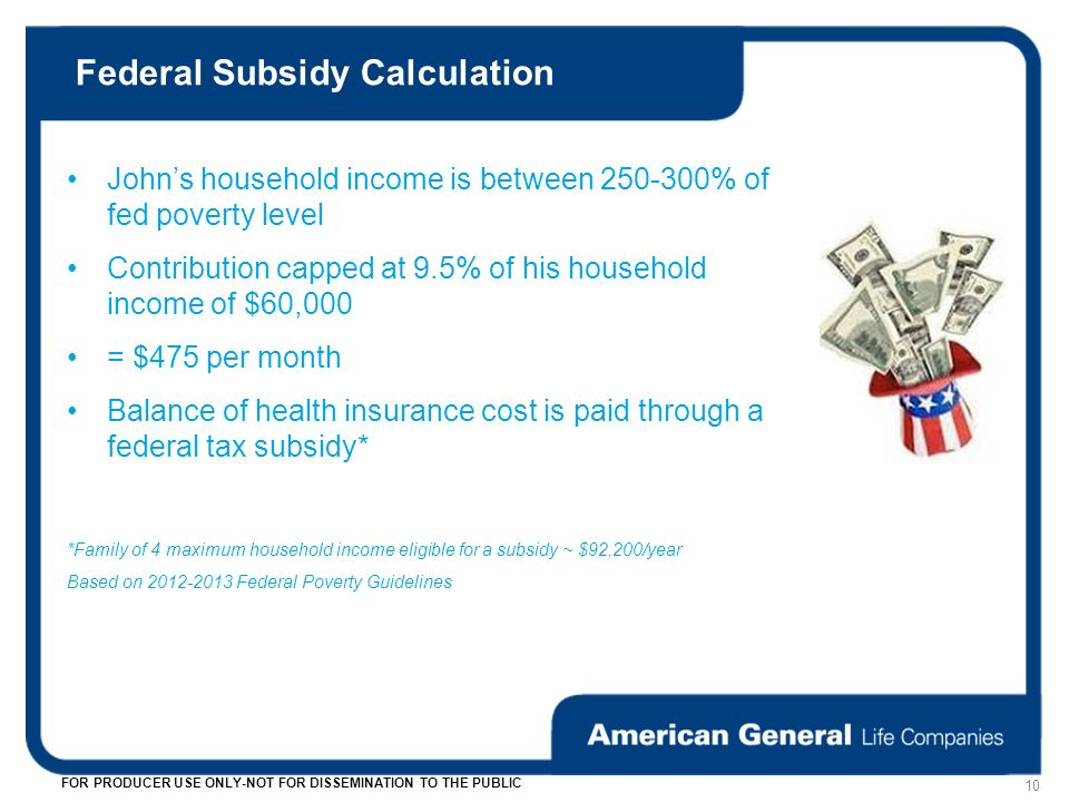 Federal Subsidy Calculation 10 FOR PRODUCER USE ONLY-NOT FOR DISSEMINATION TO THE PUBLIC Johns household income is between 250-300% of fed poverty level Contribution capped at 9.5% of his household income of $60,000 = $475 per month Balance of health insurance cost is paid through a federal tax subsidy* *Family of 4 maximum household income eligible for a subsidy ~ $92,200/year Based on 2012-2013 Federal Poverty Guidelines