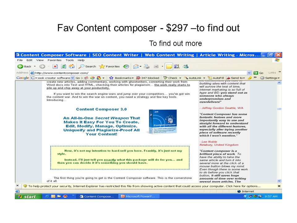 Fav Content composer - $297 –to find out To find out more