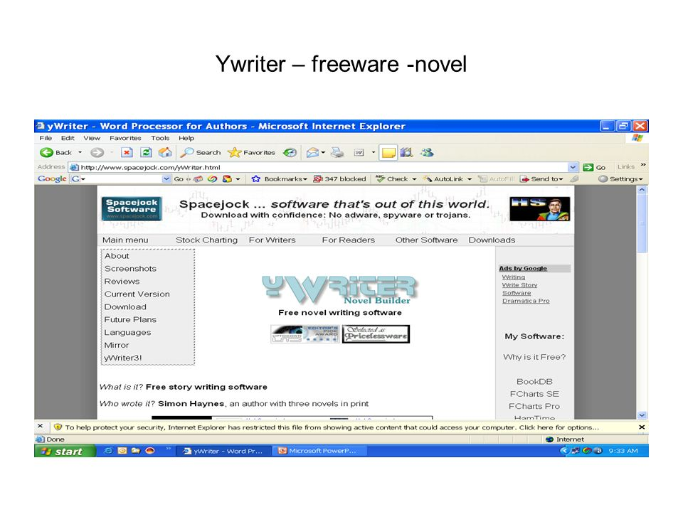 Ywriter – freeware -novel