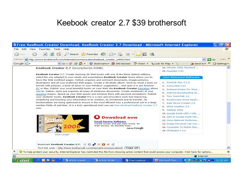 Keebook creator 2.7 $39 brothersoft