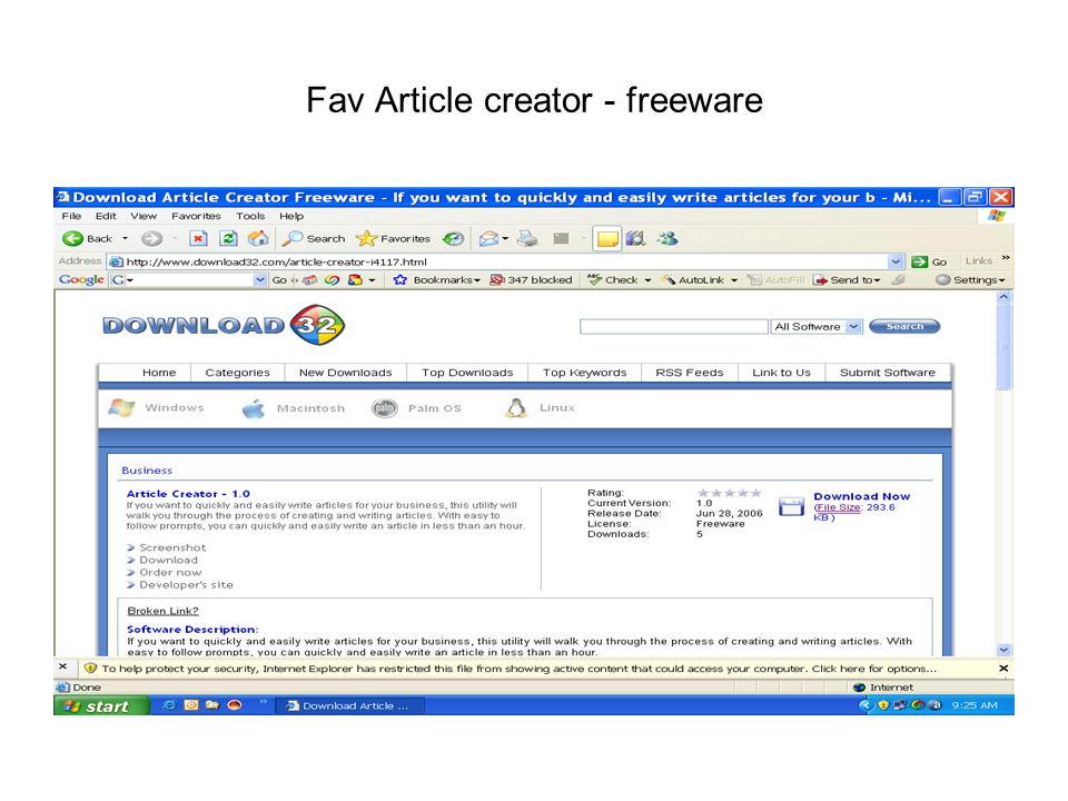 Fav Article creator - freeware