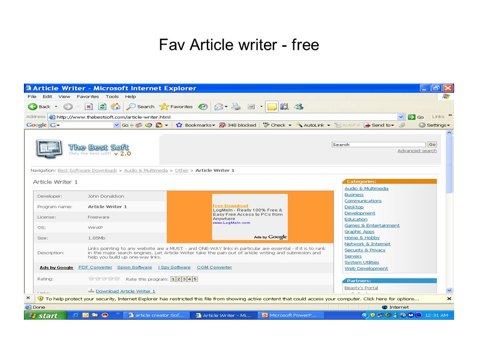 Fav Article writer - free