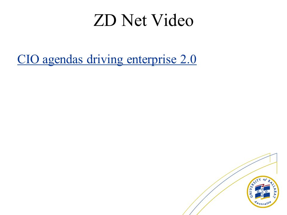 ZD Net Video CIO agendas driving enterprise 2.0