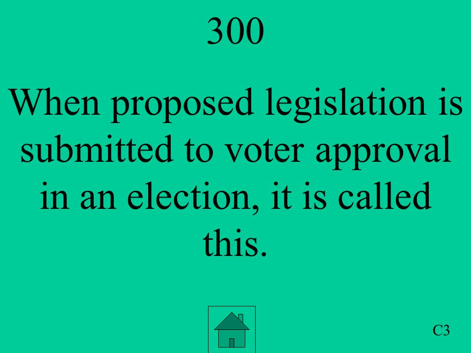 200 The term that allows voters to demand a special election to remove an elected official before their term is up. C2