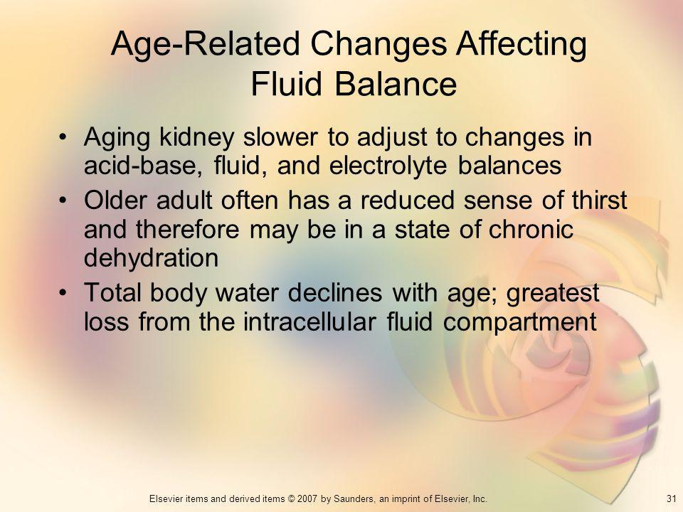 31Elsevier items and derived items © 2007 by Saunders, an imprint of Elsevier, Inc. Age-Related Changes Affecting Fluid Balance Aging kidney slower to