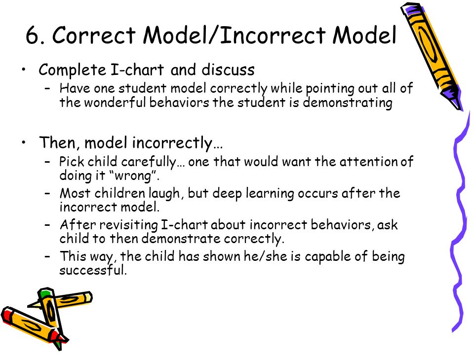 6. Correct Model/Incorrect Model Complete I-chart and discuss –Have one student model correctly while pointing out all of the wonderful behaviors the