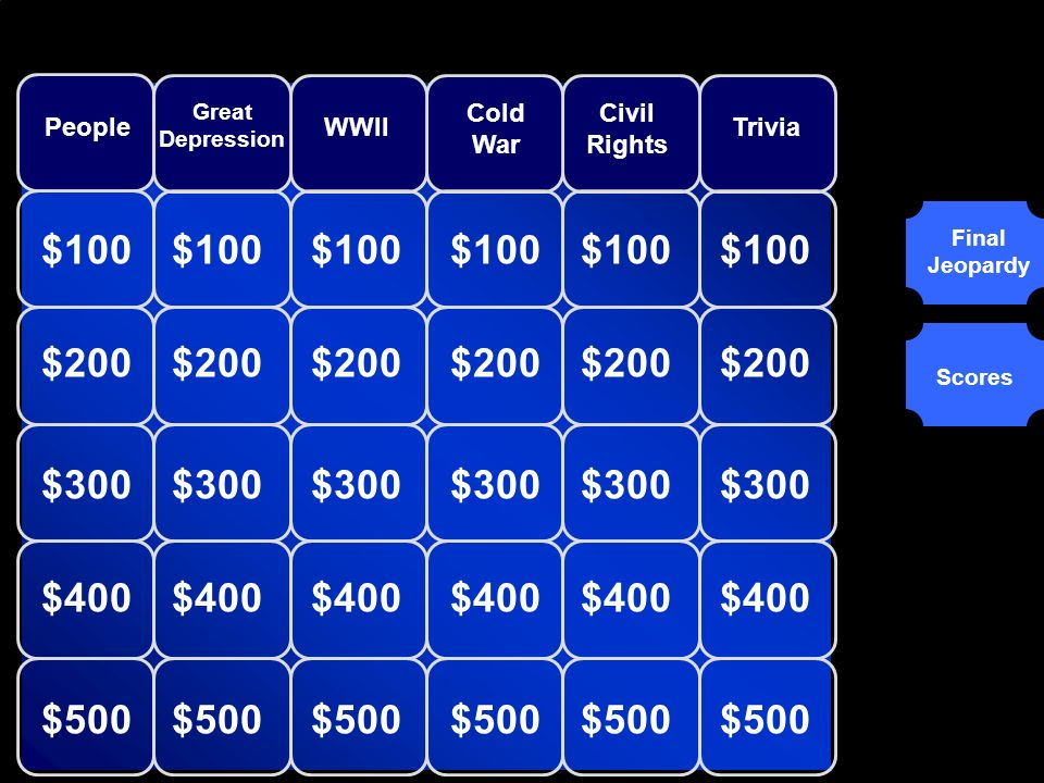 Round 1 Final Jeopardy