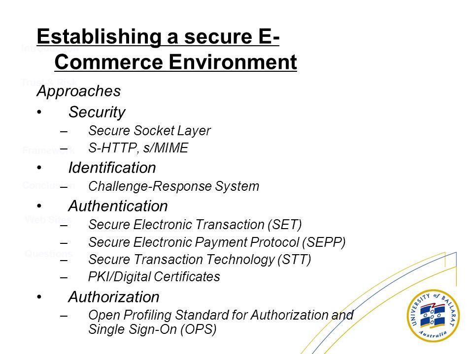 Introduction Trust & Risk Conclusion Web Sites Questions Framework Establishing a secure E- Commerce Environment Approaches Security –Secure Socket La