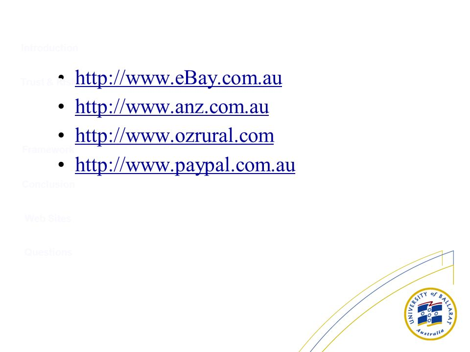 Introduction http://www.eBay.com.au http://www.anz.com.au http://www.ozrural.com http://www.paypal.com.au Trust & Risk Conclusion Web Sites Questions