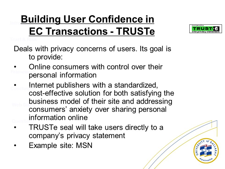 Introduction Deals with privacy concerns of users. Its goal is to provide: Online consumers with control over their personal information Internet publ