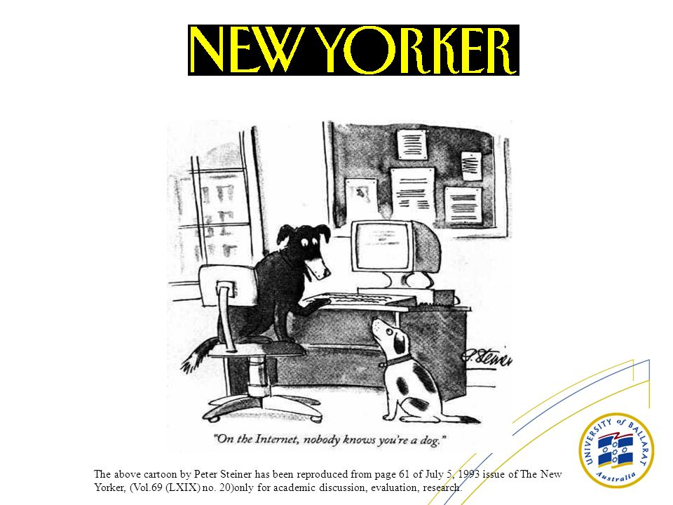 The above cartoon by Peter Steiner has been reproduced from page 61 of July 5, 1993 issue of The New Yorker, (Vol.69 (LXIX) no. 20)only for academic d