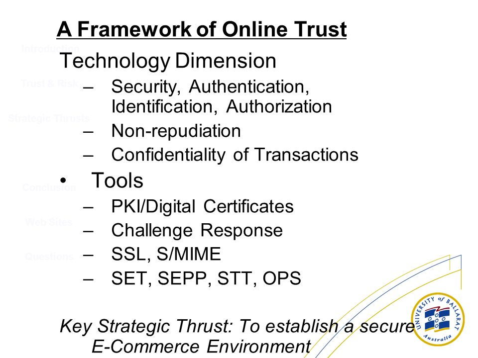 Introduction Technology Dimension –Security, Authentication, Identification, Authorization –Non-repudiation –Confidentiality of Transactions Tools –PK