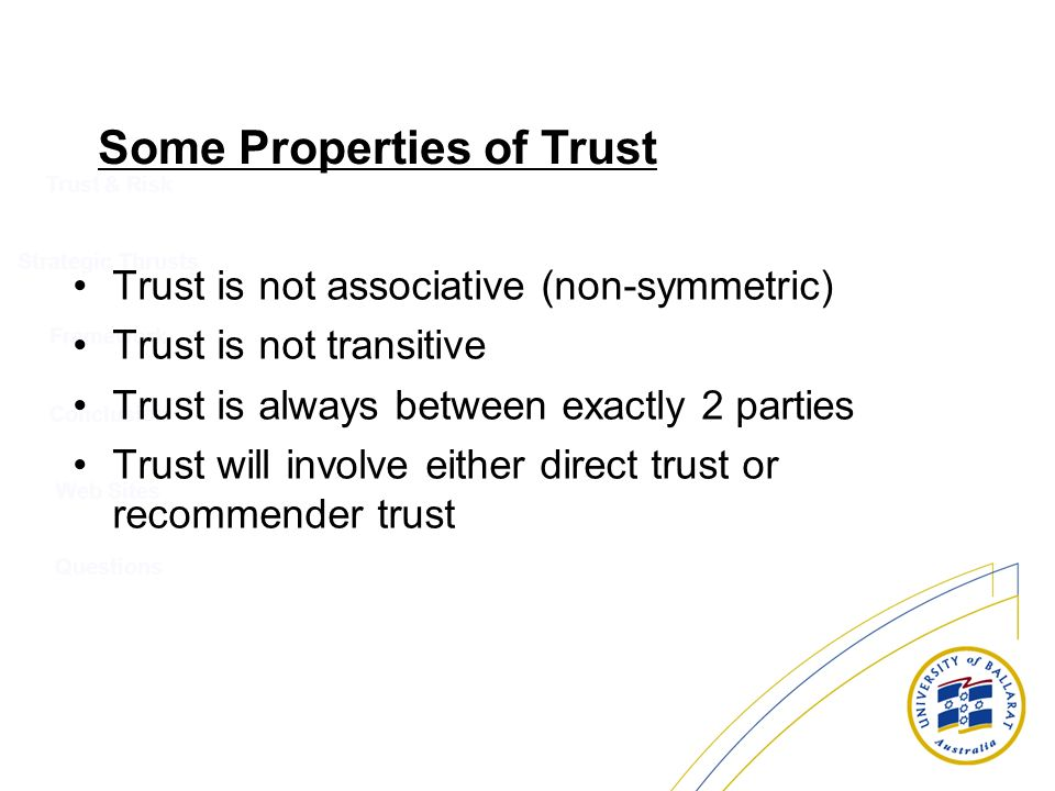 Trust & Risk Strategic Thrusts Conclusion Web Sites Questions Framework Some Properties of Trust Trust is not associative (non-symmetric) Trust is not