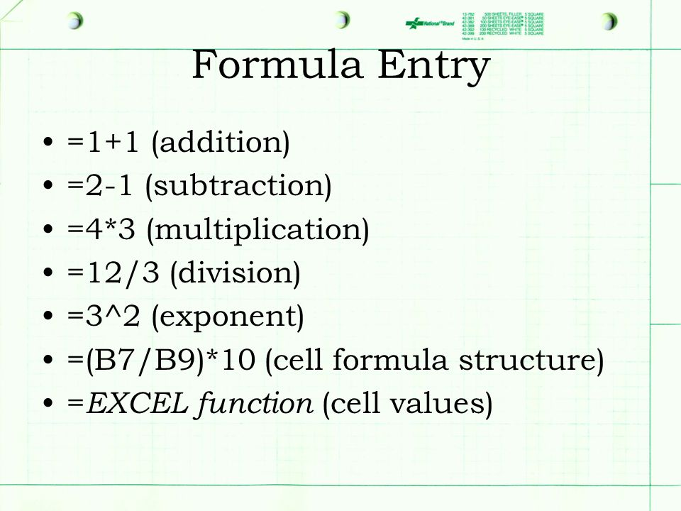 Formula Entry =1+1 (addition) =2-1 (subtraction) =4*3 (multiplication) =12/3 (division) =3^2 (exponent) =(B7/B9)*10 (cell formula structure) = EXCEL function (cell values)