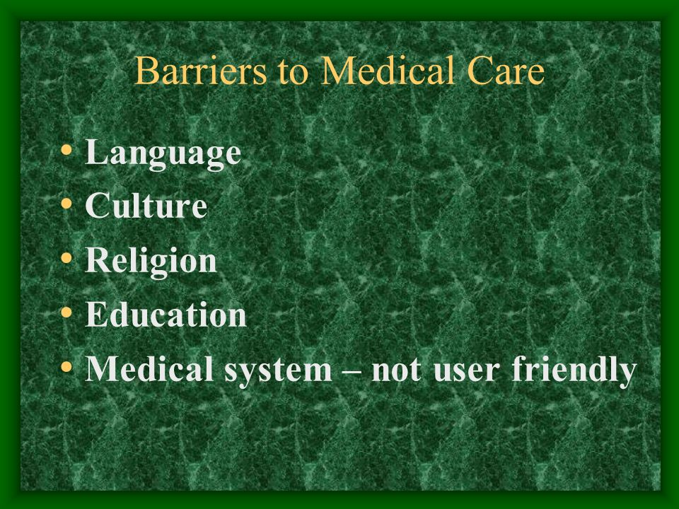 Barriers to Medical Care Language Culture Religion Education Medical system – not user friendly