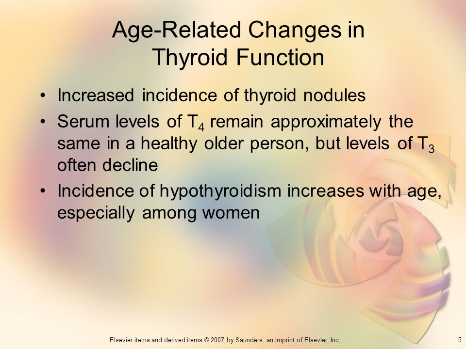 5Elsevier items and derived items © 2007 by Saunders, an imprint of Elsevier, Inc. Age-Related Changes in Thyroid Function Increased incidence of thyr