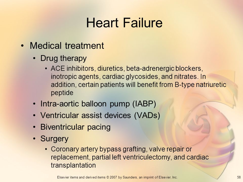 58Elsevier items and derived items © 2007 by Saunders, an imprint of Elsevier, Inc. Heart Failure Medical treatment Drug therapy ACE inhibitors, diure