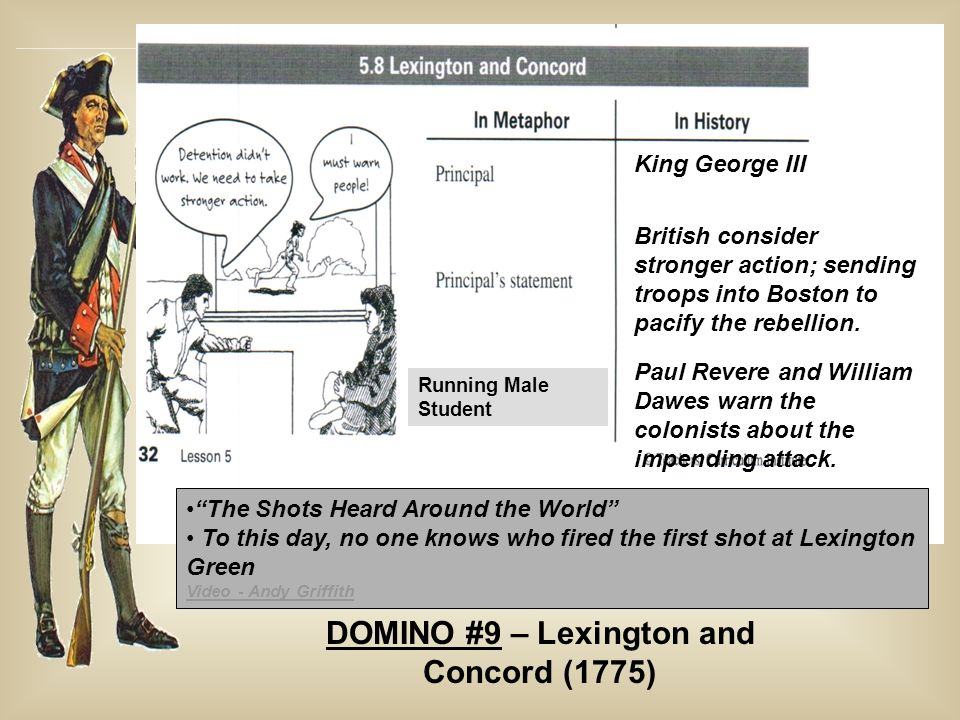 King George III British consider stronger action; sending troops into Boston to pacify the rebellion. Paul Revere and William Dawes warn the colonists