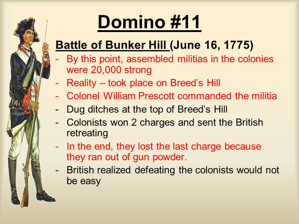 Domino #11 Battle of Bunker Hill (June 16, 1775) - -By this point, assembled militias in the colonies were 20,000 strong - -Reality – took place on Br
