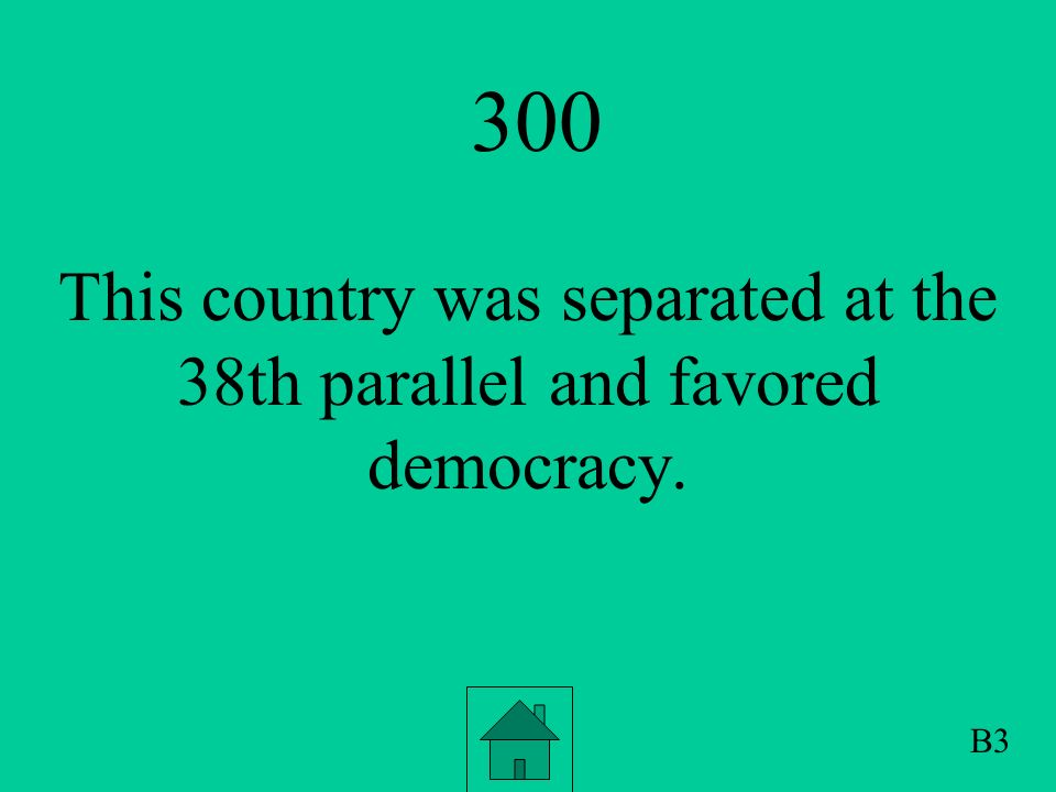 200 This obstacle was created by Soviet Premiere Khrushchev to separate the union of the US, UK and France, from the Soviet Union and also to prevent