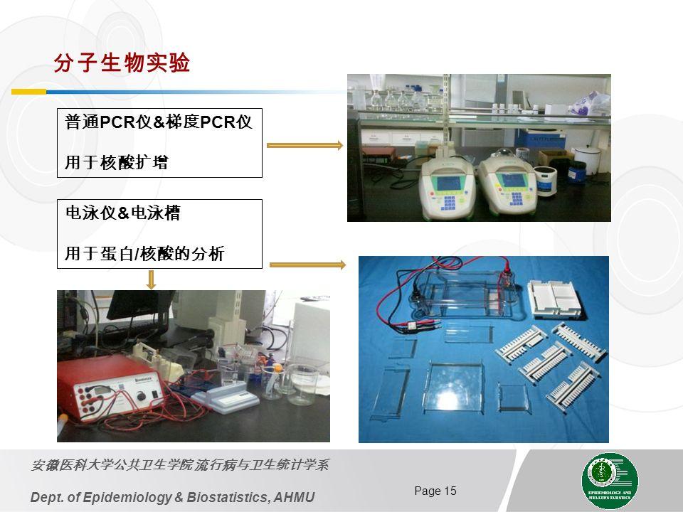 Page 15 Dept. of Epidemiology & Biostatistics, AHMU PCR & PCR & /
