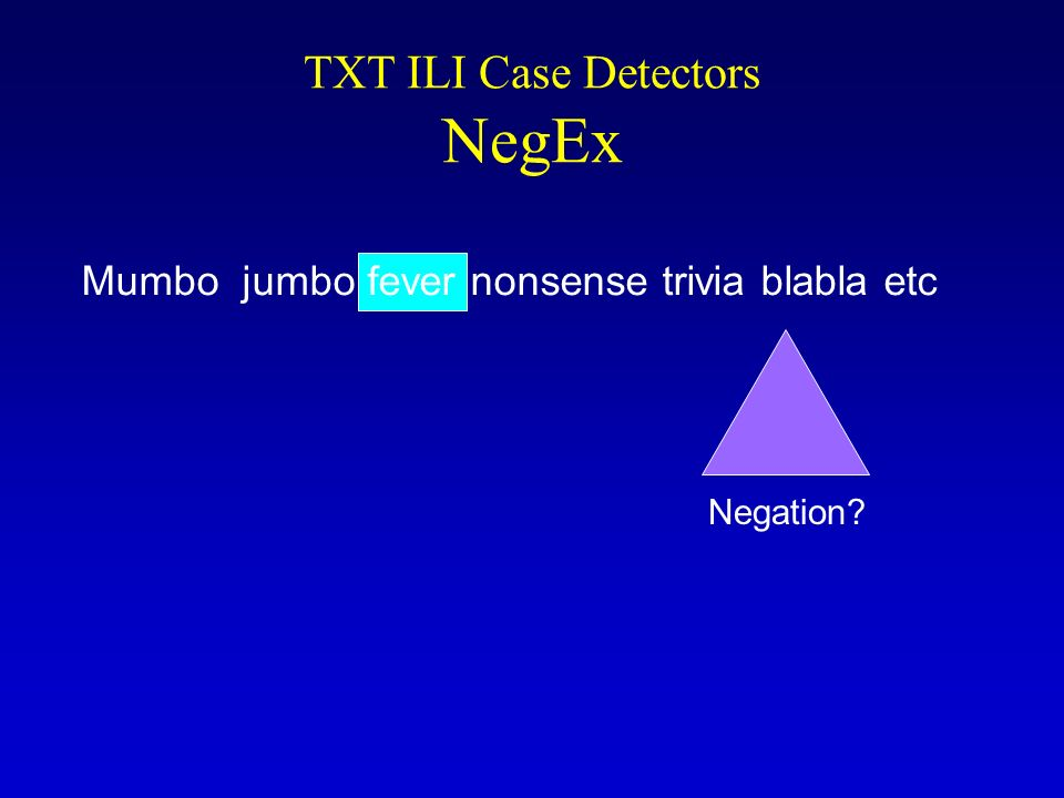 TXT ILI Case Detectors NegEx Negation? Mumbo jumbo fever nonsense trivia blabla etc