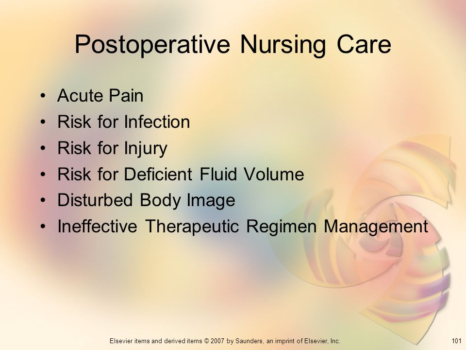101Elsevier items and derived items © 2007 by Saunders, an imprint of Elsevier, Inc. Postoperative Nursing Care Acute Pain Risk for Infection Risk for