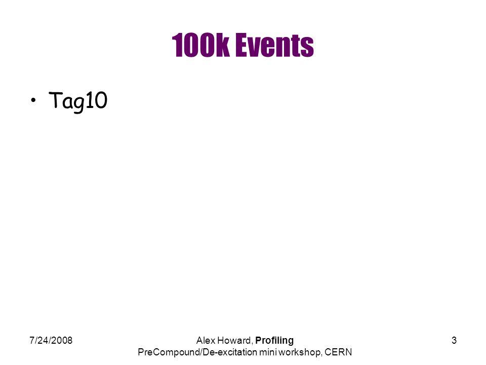 7/24/2008Alex Howard, Profiling PreCompound/De-excitation mini workshop, CERN 3 100k Events Tag10