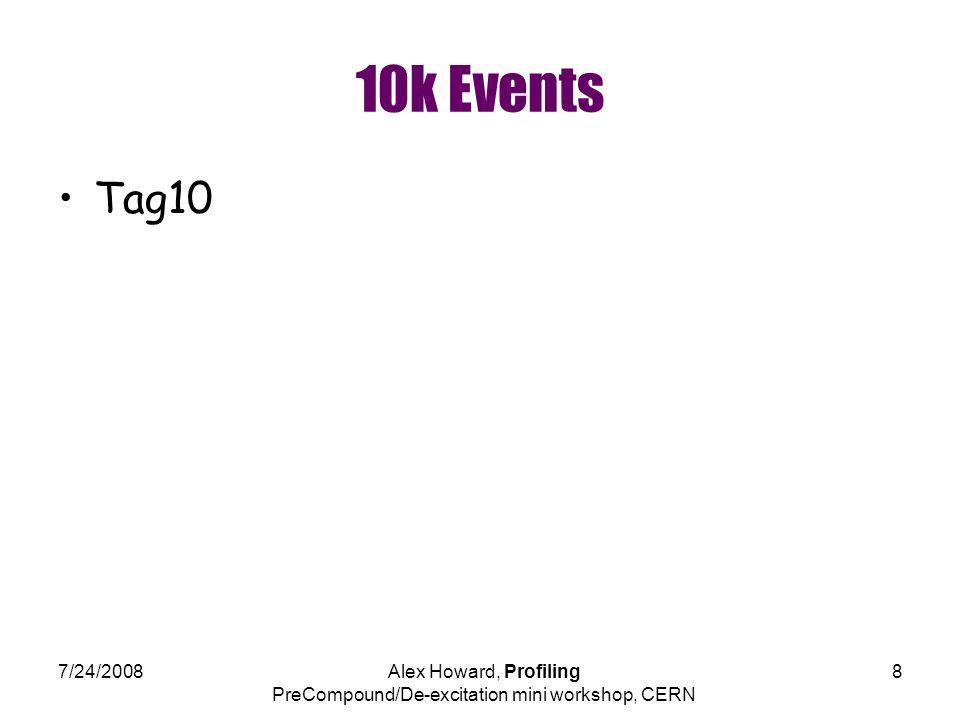 7/24/2008Alex Howard, Profiling PreCompound/De-excitation mini workshop, CERN 8 10k Events Tag10