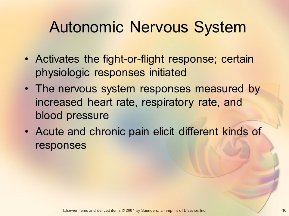 16Elsevier items and derived items © 2007 by Saunders, an imprint of Elsevier, Inc. Autonomic Nervous System Activates the fight-or-flight response; c