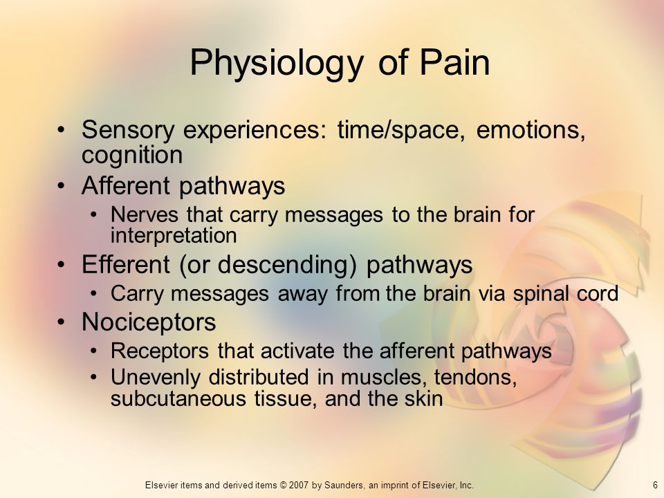 6Elsevier items and derived items © 2007 by Saunders, an imprint of Elsevier, Inc. Physiology of Pain Sensory experiences: time/space, emotions, cogni