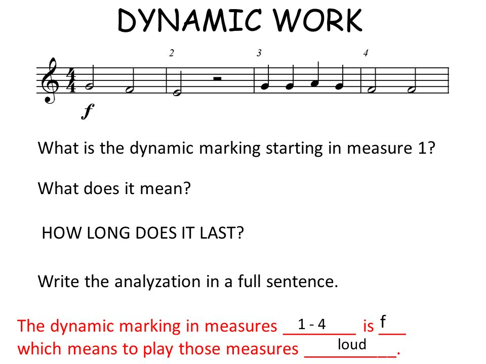 DYNAMIC WORK What is the dynamic marking starting in measure 1? What does it mean? HOW LONG DOES IT LAST? Write the analyzation in a full sentence. Th