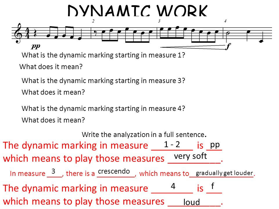 DYNAMIC WORK What is the dynamic marking starting in measure 1? What does it mean? Write the analyzation in a full sentence. The dynamic marking in me