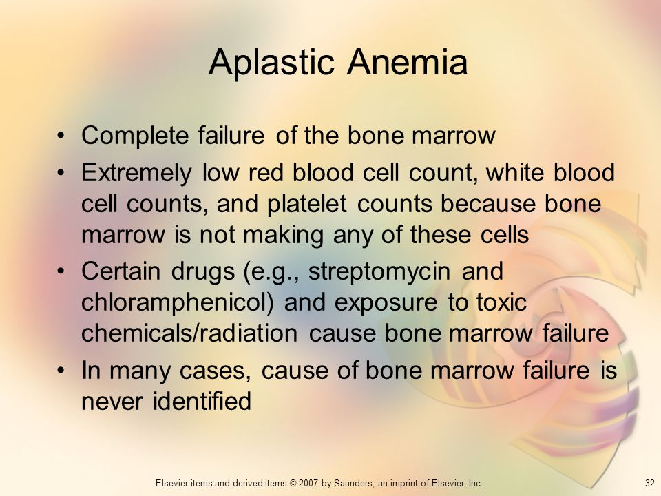 32Elsevier items and derived items © 2007 by Saunders, an imprint of Elsevier, Inc. Aplastic Anemia Complete failure of the bone marrow Extremely low