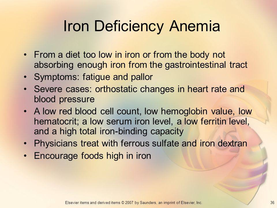 36Elsevier items and derived items © 2007 by Saunders, an imprint of Elsevier, Inc. Iron Deficiency Anemia From a diet too low in iron or from the bod
