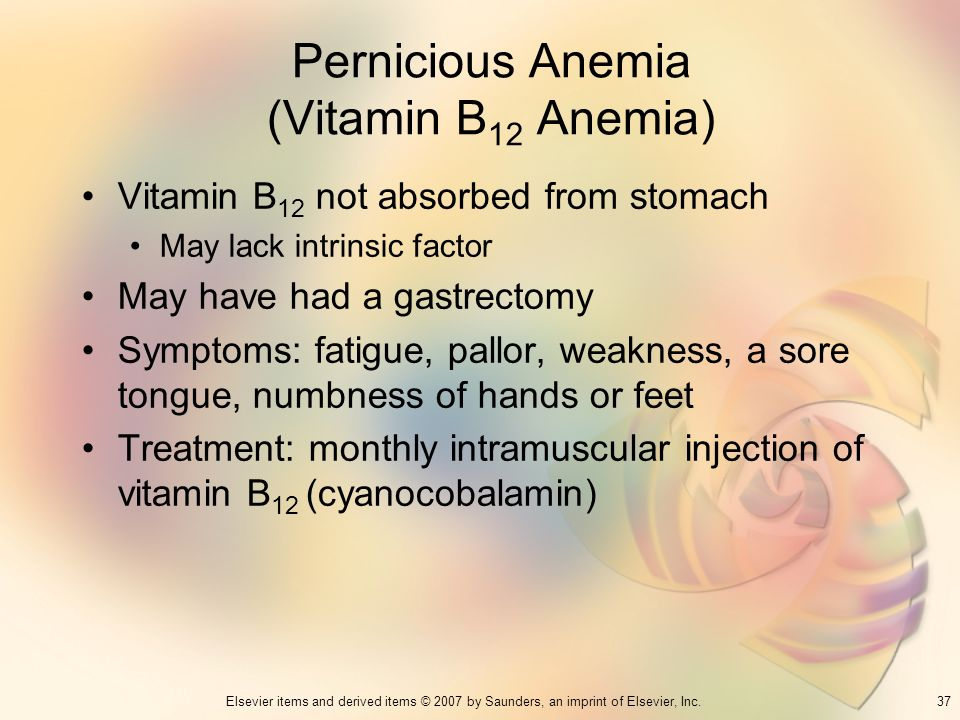 37Elsevier items and derived items © 2007 by Saunders, an imprint of Elsevier, Inc. Pernicious Anemia (Vitamin B 12 Anemia) Vitamin B 12 not absorbed