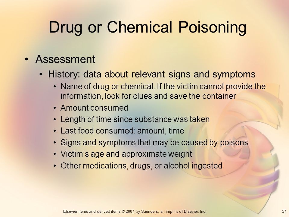 57Elsevier items and derived items © 2007 by Saunders, an imprint of Elsevier, Inc. Drug or Chemical Poisoning Assessment History: data about relevant