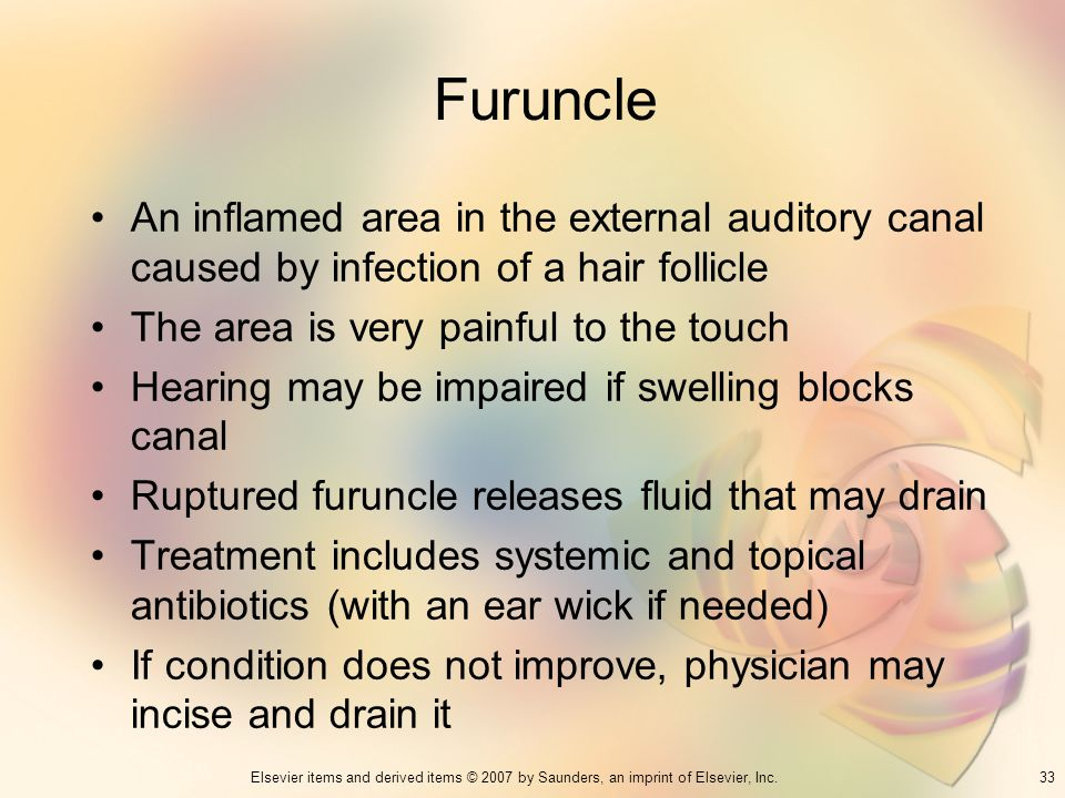 33Elsevier items and derived items © 2007 by Saunders, an imprint of Elsevier, Inc. Furuncle An inflamed area in the external auditory canal caused by