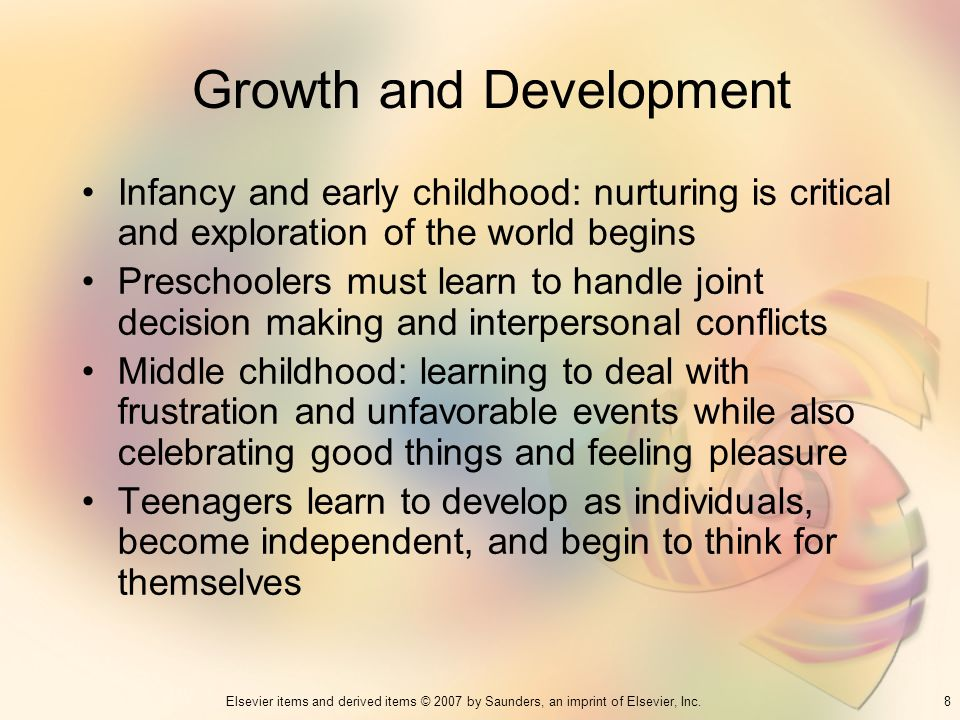 8Elsevier items and derived items © 2007 by Saunders, an imprint of Elsevier, Inc. Growth and Development Infancy and early childhood: nurturing is cr