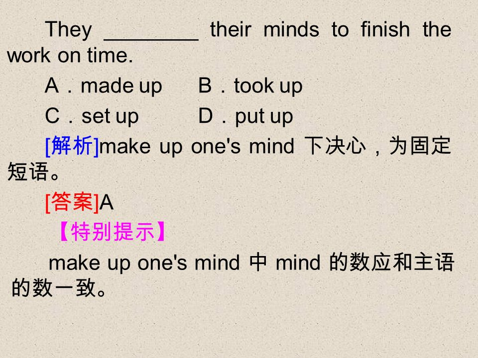 make up one s mind mind They ________ their minds to finish the work on time.