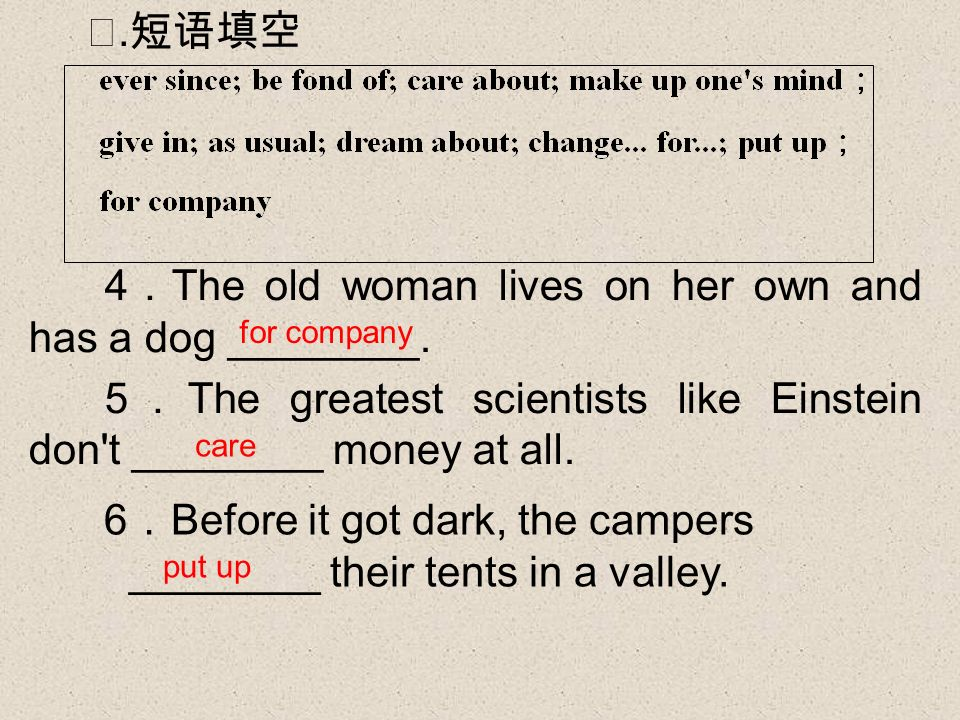 4 The old woman lives on her own and has a dog ________.