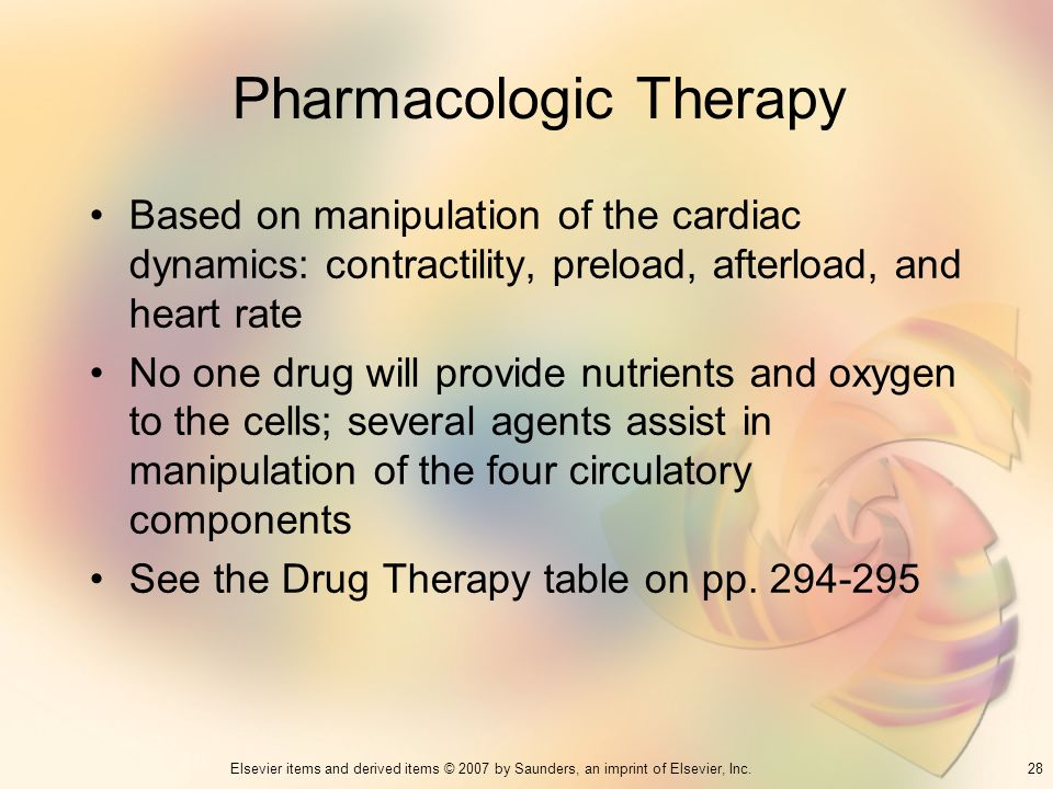28Elsevier items and derived items © 2007 by Saunders, an imprint of Elsevier, Inc. Pharmacologic Therapy Based on manipulation of the cardiac dynamic