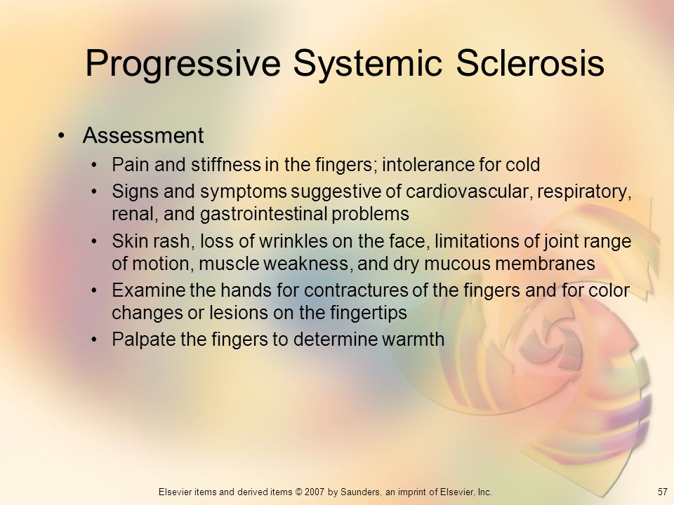 57Elsevier items and derived items © 2007 by Saunders, an imprint of Elsevier, Inc. Progressive Systemic Sclerosis Assessment Pain and stiffness in th