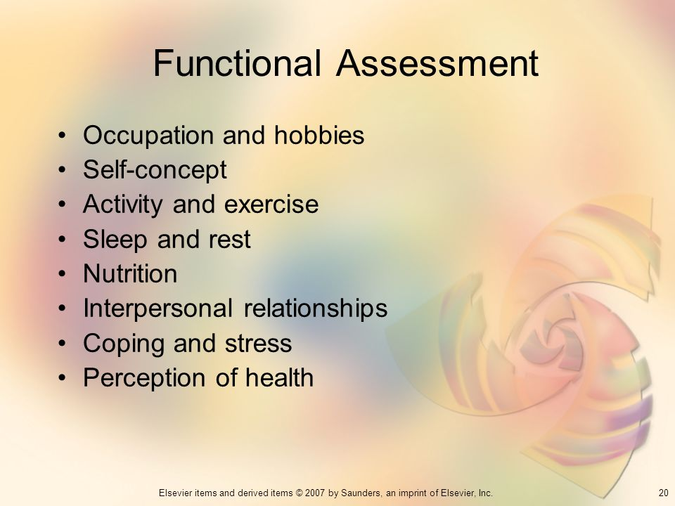 20Elsevier items and derived items © 2007 by Saunders, an imprint of Elsevier, Inc. Functional Assessment Occupation and hobbies Self-concept Activity