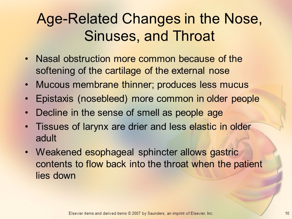 10Elsevier items and derived items © 2007 by Saunders, an imprint of Elsevier, Inc. Age-Related Changes in the Nose, Sinuses, and Throat Nasal obstruc