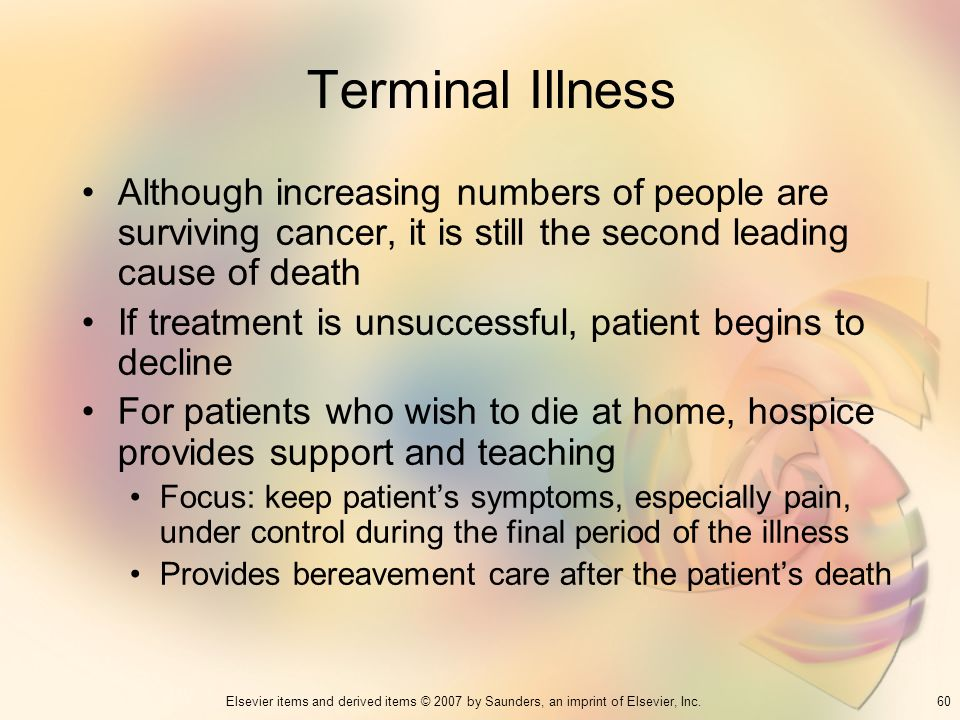 60Elsevier items and derived items © 2007 by Saunders, an imprint of Elsevier, Inc. Terminal Illness Although increasing numbers of people are survivi