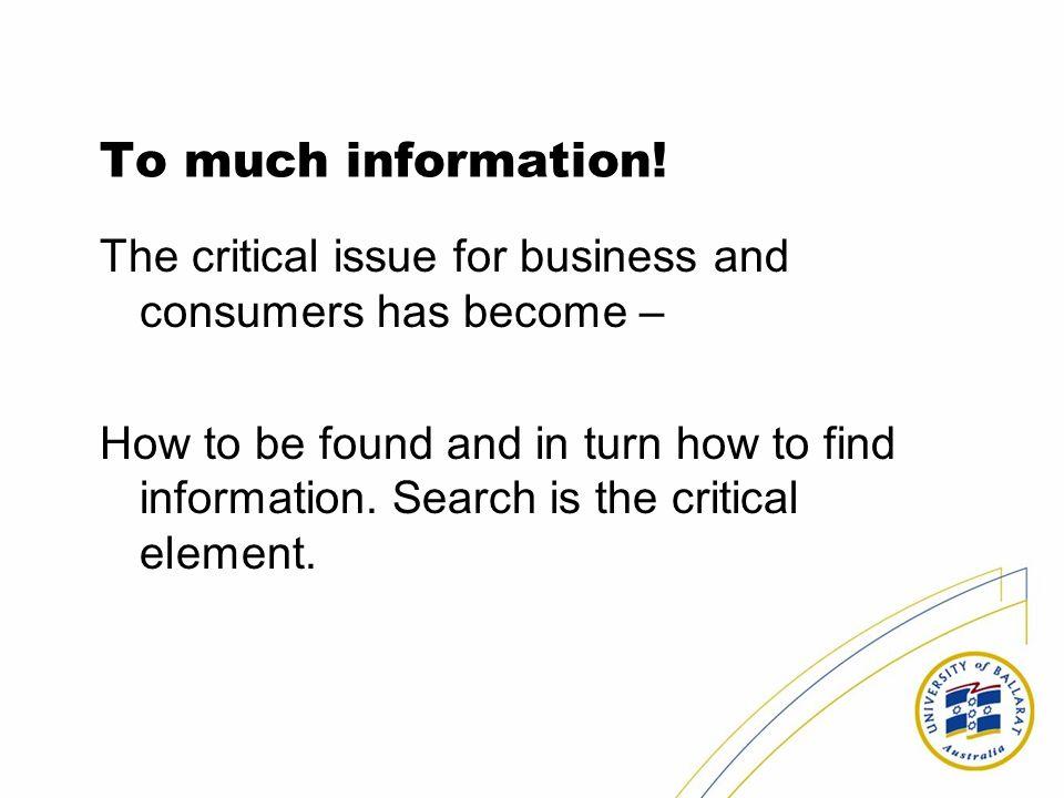 To much information.