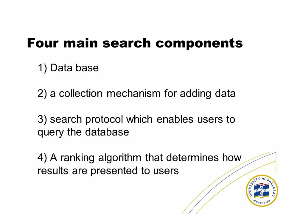 Four main search components 1) Data base 2) a collection mechanism for adding data 3) search protocol which enables users to query the database 4) A ranking algorithm that determines how results are presented to users